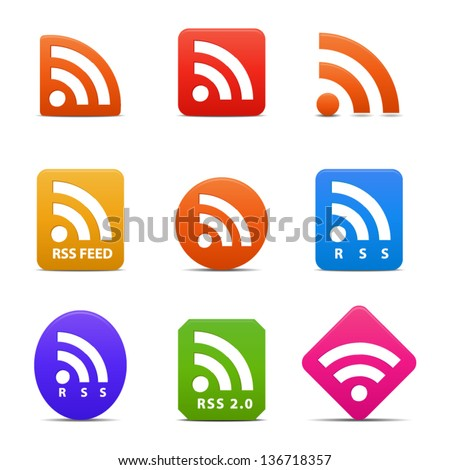 RSS or News feed symbol -  icons isolated on white background. Vector