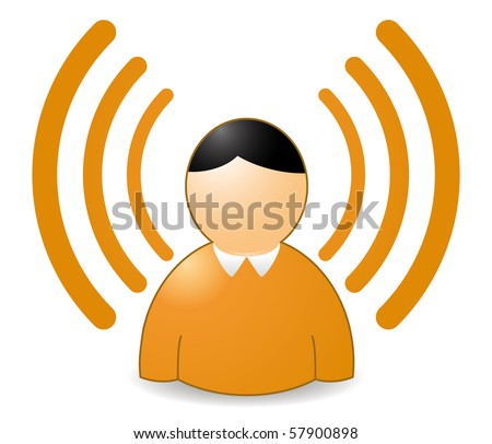 rss or wireless person in orange colors
