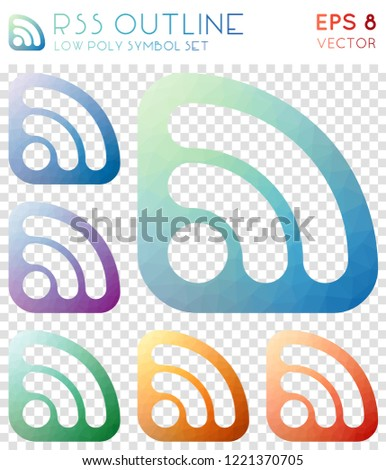 Rss outline geometric polygonal icons. Bewitching mosaic style symbol collection. Nice low poly style. Modern design. Rss outline icons set for infographics or presentation.