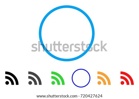 Rss rounded icon. Style is a flat rss gray symbol inside light blue circle with black, gray, green, blue, red, orange variants. Vector designed for web and software interfaces.