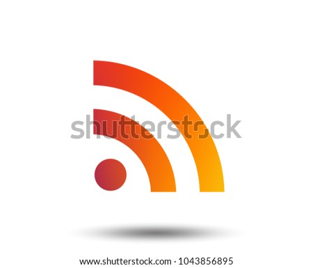 RSS sign icon. RSS feed symbol. Blurred gradient design element. Vivid graphic flat icon. Vector