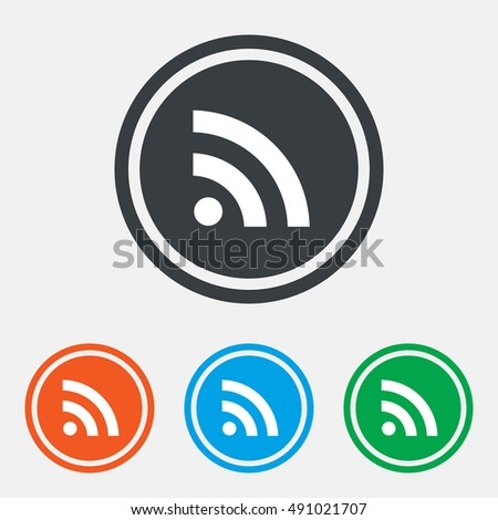 RSS sign icon. RSS feed symbol. Graphic design web element. Flat rss news symbol on the round button. Vector