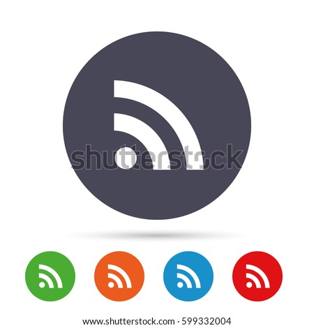 RSS sign icon. RSS feed symbol. Round colourful buttons with flat icons. Vector