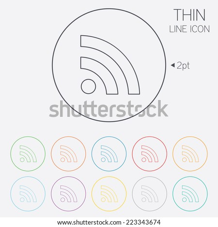 RSS sign icon. RSS feed symbol. Thin line circle web icons with outline. Vector