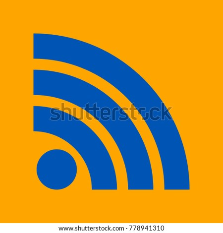 RSS sign icon. RSS feed symbol. Vector. Medium teal blue icon on orange background.