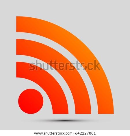 RSS sign icon. RSS feed symbol. Vector. Orange, red-yellow icon with shadow on gray background.
