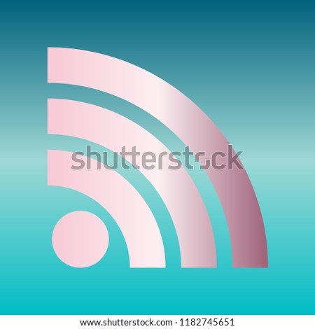 RSS sign icon. RSS feed symbol. Vector. Pink bronze gradient icon at turquoise gradient background.