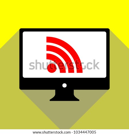 RSS sign icon. RSS feed symbol. Vector. Red icon on white monitor of black all-in-one desktop computer with two shadows at yellow background.
