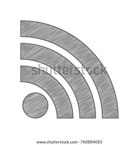 RSS sign icon. RSS feed symbol. Vector. Shaded gray icon on white background. Isolated.