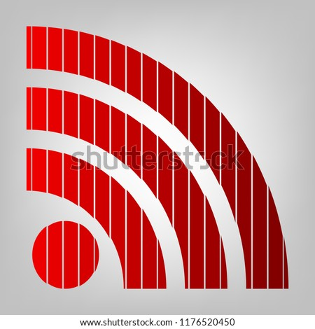 RSS sign icon. RSS feed symbol. Vector. Vertically divided icon with colors from reddish gradient in gray background with light in center.