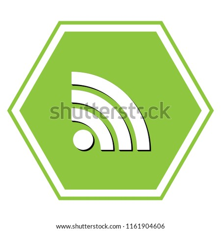 RSS sign illustration. Vector. White icon with black shadow at yellow green honeycomb on white background.