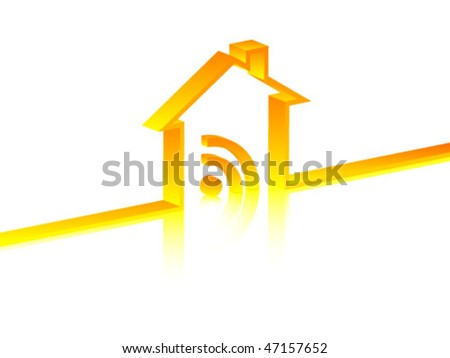 rss sign inside in house - stock vector