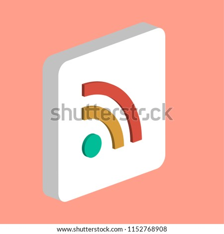 RSS Simple vector icon. Illustration symbol design template for web mobile UI element. Perfect color isometric pictogram on 3d white square. RSS icons for your business project
