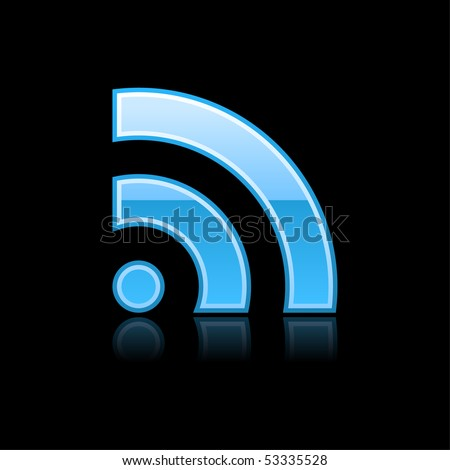 RSS symbol glossy blue web button with reflection