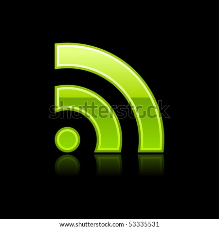 Glossy green RSS icon web 2.0 button with color reflection on black background