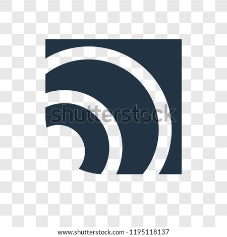 RSS vector icon isolated on transparent background, RSS transparency logo concept