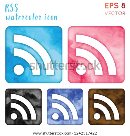 Rss watercolor icon set. Awesome hand drawn style symbol. Ravishing watercolor symbol. Modern design for infographics or presentation.