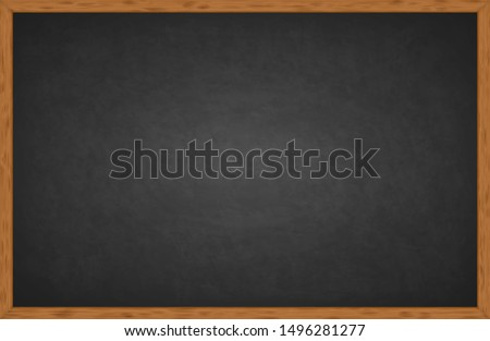 Rubbed out dirty chalkboard. Realistic black chalkboard with wooden frame isolated on white background. Empty school chalkboard for classroom or restaurant menu. Template blackboard for design