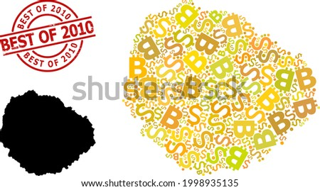 Rubber Best of 2010 seal, and finance mosaic map of La Gomera Island. Red round seal includes Best of 2010 caption inside circle. Map of La Gomera Island mosaic is made with finance, dollar, Stockfoto ©
