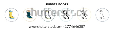 Rubber boots icon in filled, thin line, outline and stroke style. Vector illustration of two colored and black rubber boots vector icons designs can be used for mobile, ui, web Photo stock ©