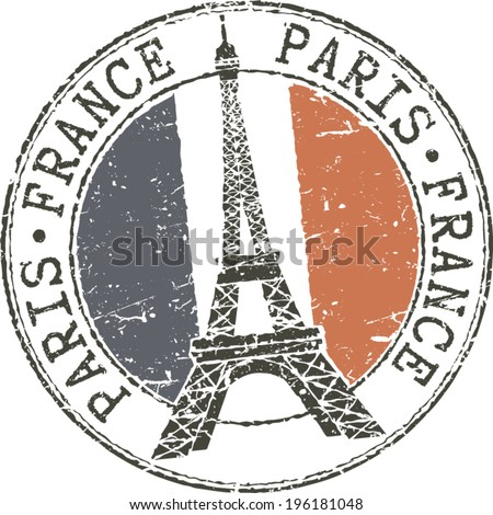 Rubber grunge stamp 'Paris-France' with Eiffel tower and french flag