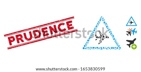 Rubber red stamp seal with Prudence caption between double parallel lines, and mosaic airplane danger icon. Mosaic vector is composed with airplane danger pictogram and with scattered elliptic items. Photo stock ©