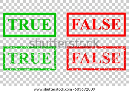Rubber Stamp Effect, True and False, at Transparent Effect Background