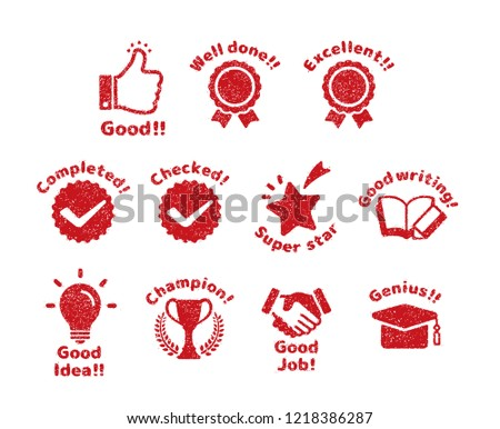 rubber stamp icon set (for teachers using at school) ストックフォト ©