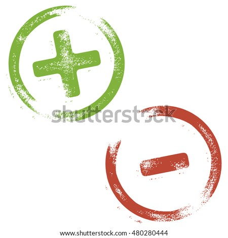 Rubber stamp illustration in a grunge look with PLUS / positive and MINUS / negative signs