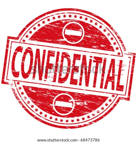 "Rubber stamp illustration showing ""Confidential"" text and symbol"