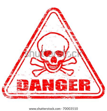 """Rubber stamp illustration showing """"DANGER"""" text and skull & bones symbol"""