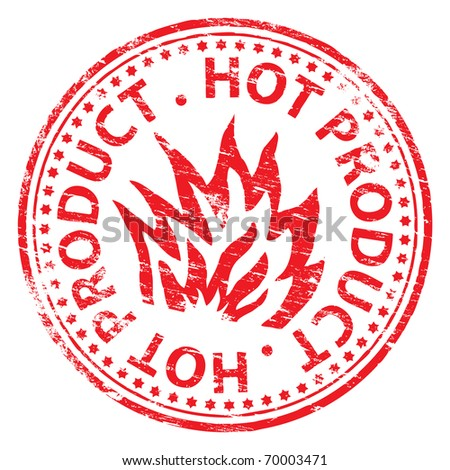 "Rubber stamp illustration showing ""HOT PRODUCT"" text"