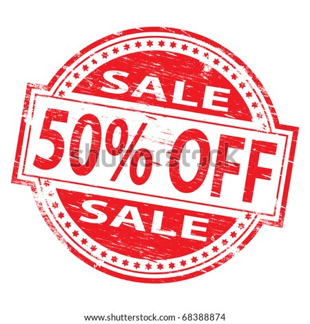 "Rubber stamp illustration showing ""50% Off"" text"