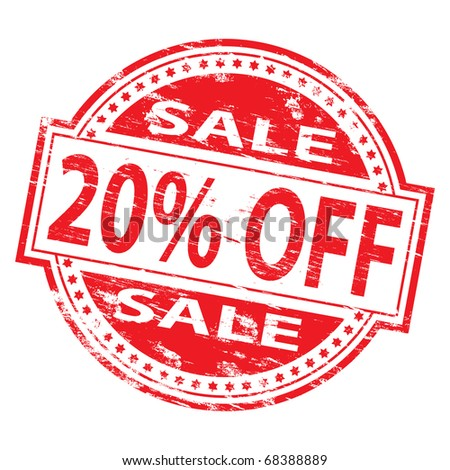 "Rubber stamp illustration showing ""20% Off"" text"