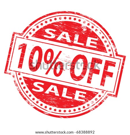 """Rubber stamp illustration showing """"10% Off"""" text"""