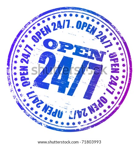 "Rubber stamp illustration showing ""OPEN 24/7"" text"