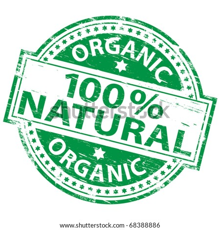 "Rubber stamp illustration showing ""100 percent natural"" text"