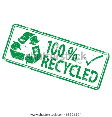 """Rubber stamp illustration showing """"100 percent recycled"""" text and symbol - stock vector"""