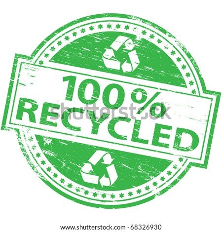 """Rubber stamp illustration showing """"100 percent recycled"""" text and symbol"""