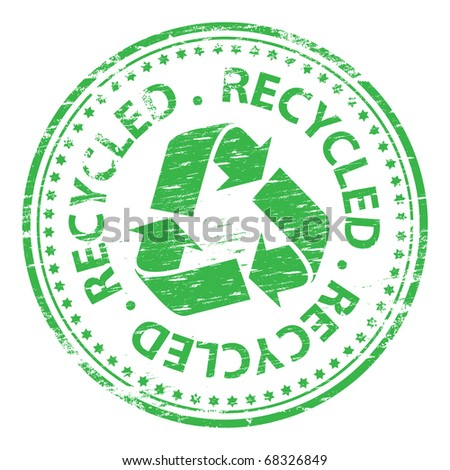 "Rubber stamp illustration showing ""recycled"" text and symbol"