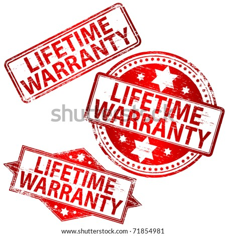 "Rubber stamp illustrations showing ""LIFETIME WARRANTY"" text"