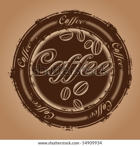 rubber stamp with coffee beans
