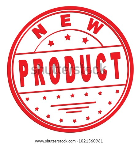"rubber stamp with text ""new product"" on white, vector illustration"