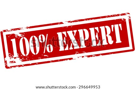 Rubber stamp with text one hundred percent expert inside, vector illustration