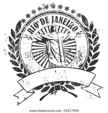 Rubber stamp with the image of the Christ and an inscription of Rio de Janeiro and an empty place for the text