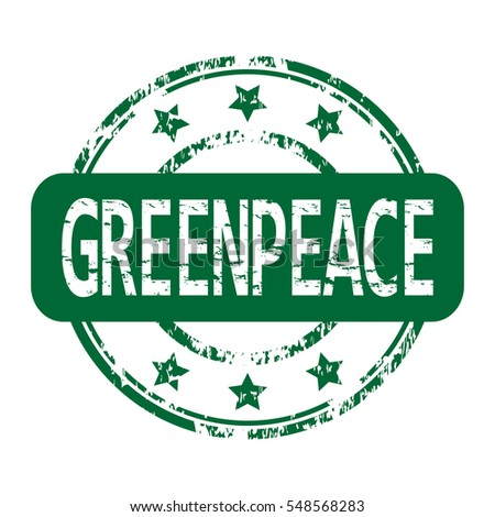 Rubber stamp with the word greenpeace isolated from the background, vector illustration.