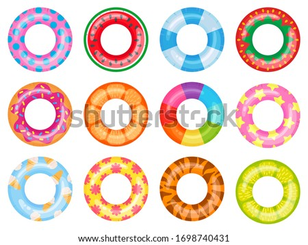 Rubber swimming ring. Pink lifesaver, summer swimming pool floating rings. Rainbow rescue ring top view cartoon vector illustration set. Ring rubber equipment, lifesaver for pool or sea