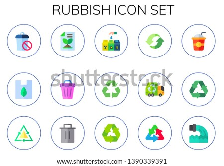 rubbish icon set. 15 flat rubbish icons.  Simple modern icons about  - trash, plastic, recycled paper, recycle bin, recycle, garbage truck, straw, recycling, waste