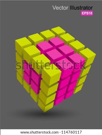 rubik cube 3d vector  can use