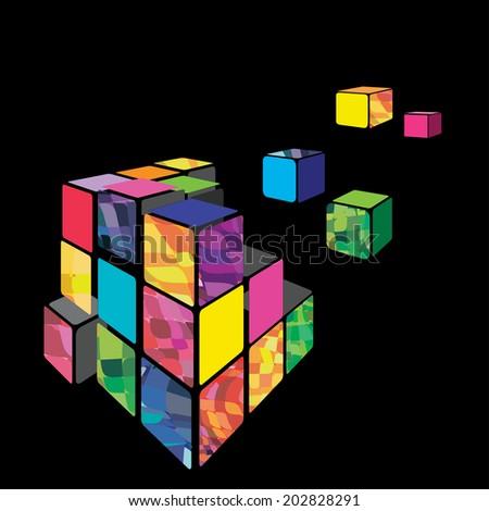 rubik cube 3d vector with black
